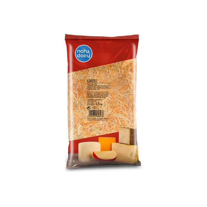 4 CHEESES GRATED STRIPS, 1.5Kg