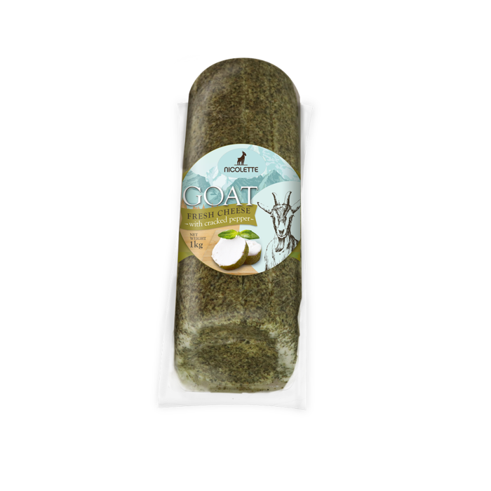 LOG GOAT FRESH CHEESE, 1Kg CRACKED PEPPER